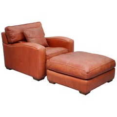 Duresta Panther Brown Leather Armchair and Oversized Plantation Stool