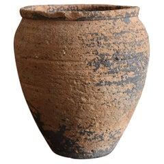 During the Edo Period in Japan Antique Jar /Shigaraki Ware Pot / 1600-1700