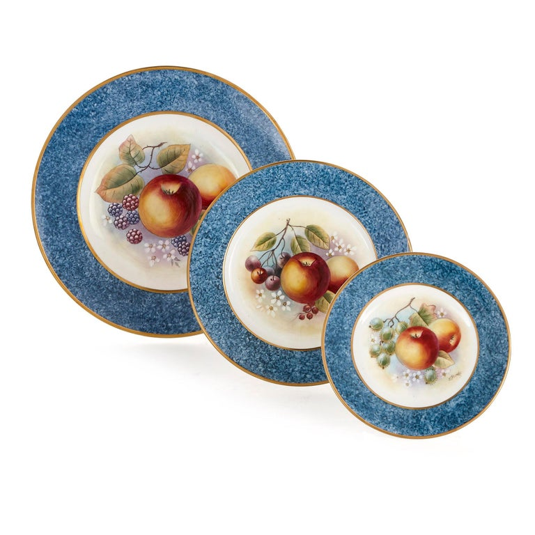 This dinner service by the porcelain manufacturers Dursley is hand painted by James Skerrett, a renowned British artist who has worked with some of the country's leading producers of porcelain. Skerrett has painted the items in this service with