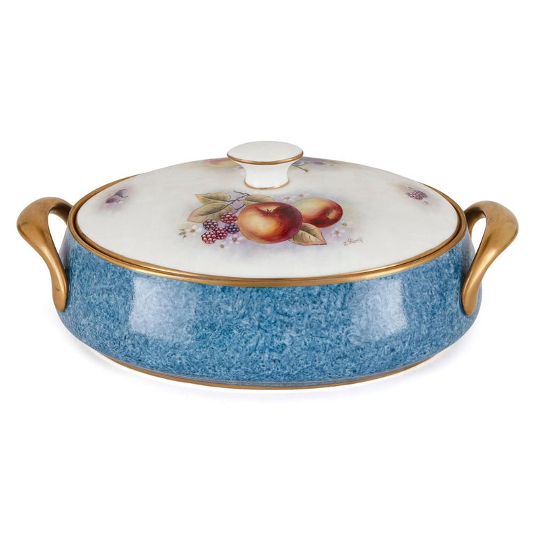 Hand-Painted Dursley Porcelain Dinner Set Decorated by James Skerrett For Sale