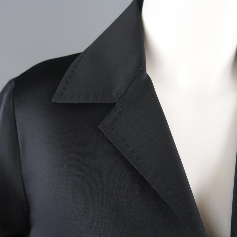 DUSAN Size M Black Silk Satin Collared Open Front Jacket In Excellent Condition For Sale In San Francisco, CA
