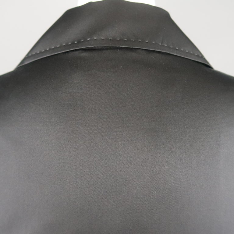 DUSAN Size M Black Silk Satin Collared Open Front Jacket For Sale 2