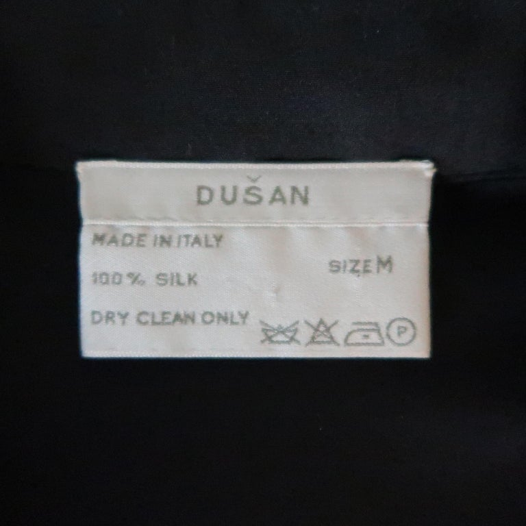 DUSAN Size M Black Silk Satin Collared Open Front Jacket For Sale 3