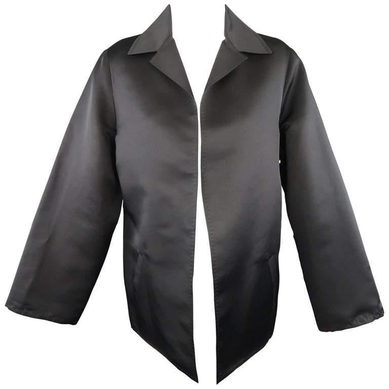 DUSAN Size M Black Silk Satin Collared Open Front Jacket For Sale