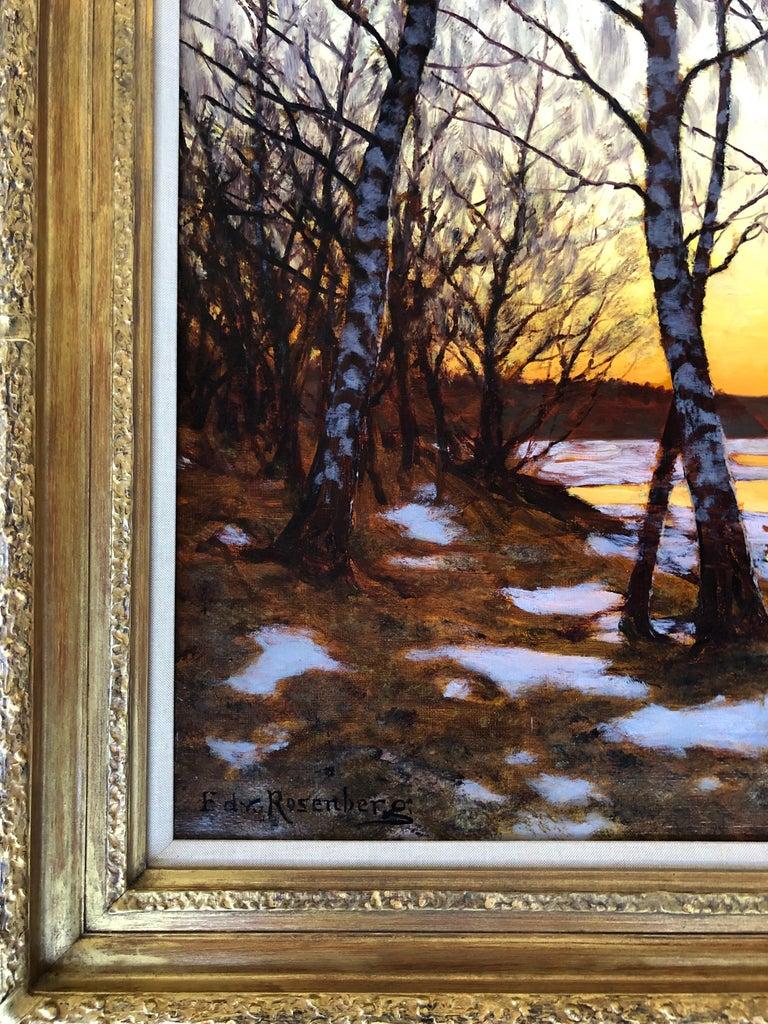 Oil on canvas, signed lower left. Edvard Rosenberg, Swedish, 1858-1934.