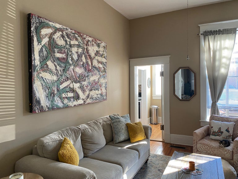 An Afternoon In June - Abstract expressionist oil painting on panel - Gray Abstract Painting by Dustin Hedrick