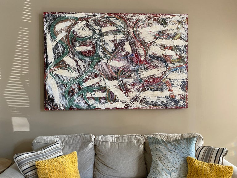 This abstract oil painting by Dustin Hedrick is a swirl of warm colors and soft whites. Aptly titled,