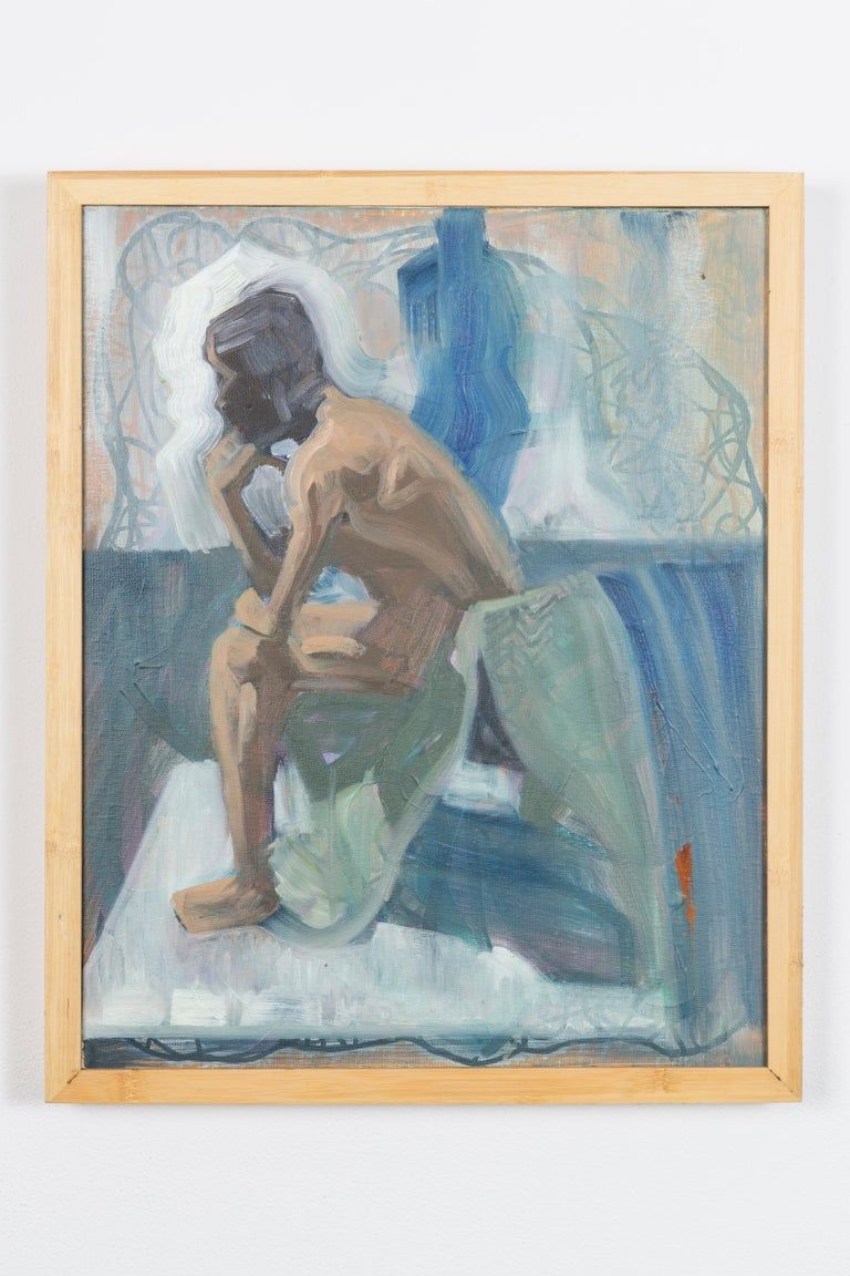 Like The Color Of Lichen - Figurative Painting, Blue, Wood Frame, Male Nude For Sale 1