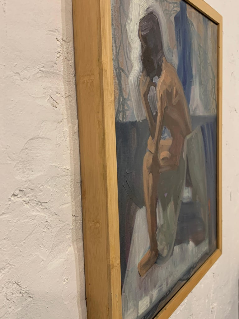 Like The Color Of Lichen - Figurative Painting, Blue, Wood Frame, Male Nude For Sale 5