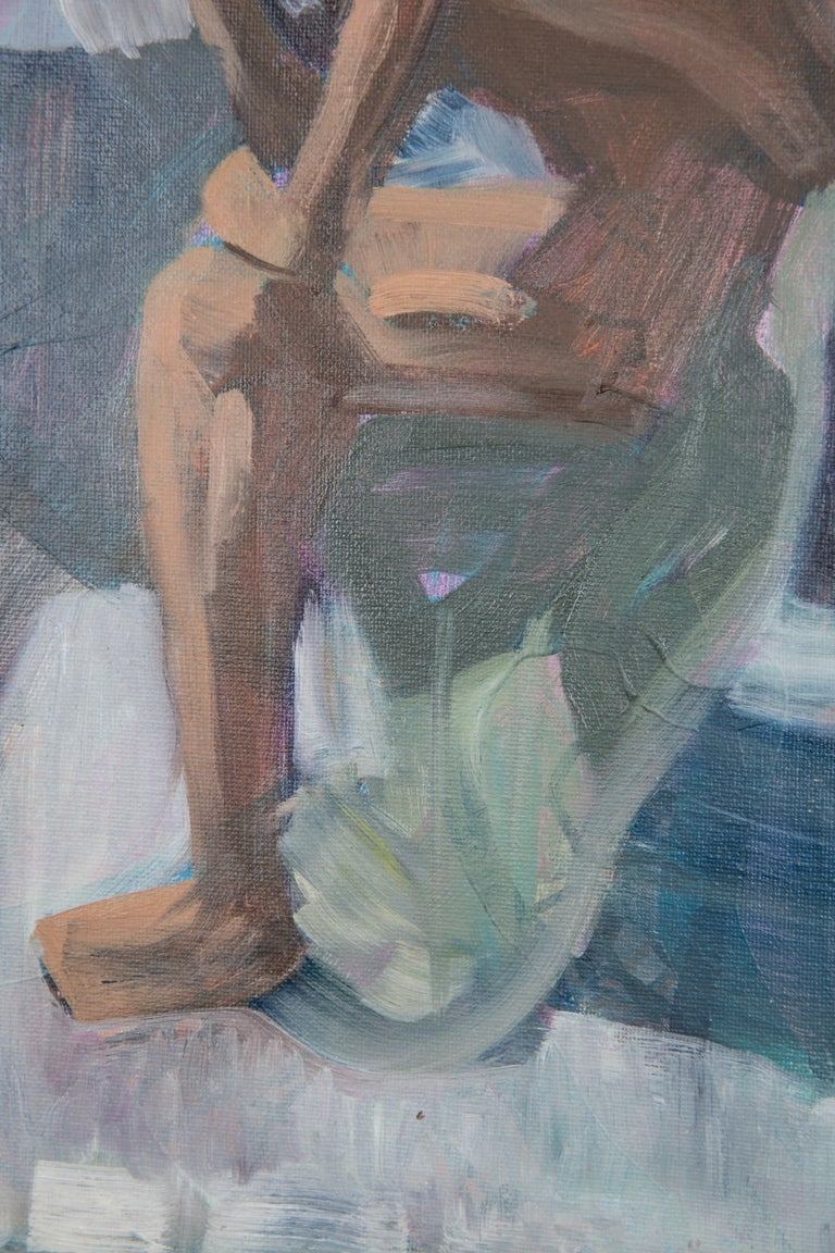Like The Color Of Lichen - Figurative Painting, Blue, Wood Frame, Male Nude For Sale 2