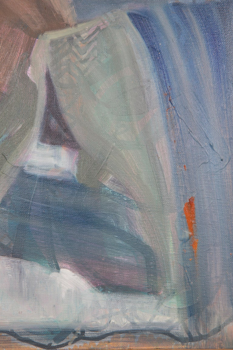 Like The Color Of Lichen - Figurative Painting, Blue, Wood Frame, Male Nude For Sale 4