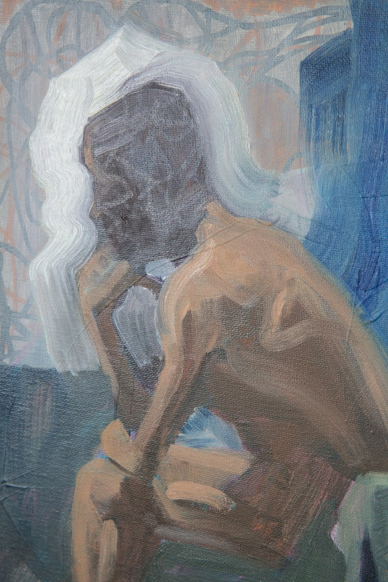 Like The Color Of Lichen - Figurative Painting, Blue, Wood Frame, Male Nude For Sale 6