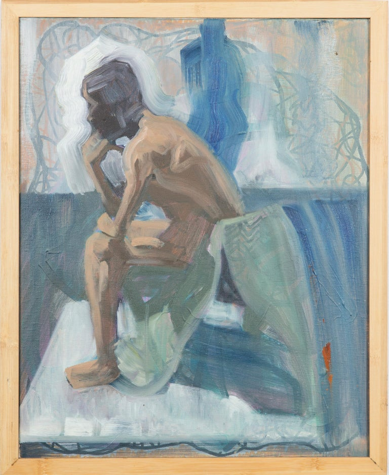 Dustin Hedrick Nude Painting - Like The Color Of Lichen - Figurative Painting, Blue, Wood Frame, Male Nude