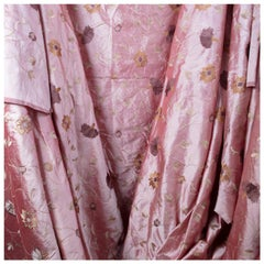 Dusty Rose Dupioni Silk, Finely Woven Hand Embroidered Designer House Fabric