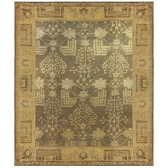 Dusty Shades of Yellow, Beige, Brown and Taupe Antique Turkish Oushak Wool Rug