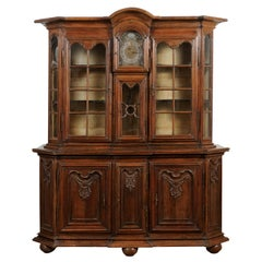 Dutch 1793s Carved Oak Buffet à Deux-Corps with Glass Doors and Pewter Clock