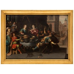 Dutch 17th Century Oil on Wood Painting in the Manner of Frans Francken