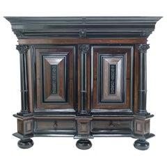 Dutch 17th Century Rosewood Ebony Baroque Cupboard Kussenkast, 1670