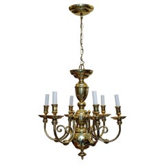 Dutch 17th Century Style Heavy Solid Brass Six Branch Chandelier