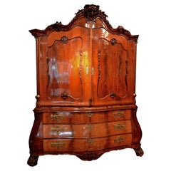 Dutch 18 Century Mahogany Armoire and Chest of Drawers