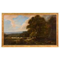 Dutch 18th Century Oil on Canvas Painting in a Giltwood Frame