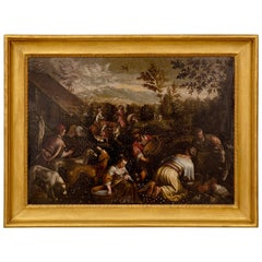 "Dutch 18th Century Oil on Canvas Painting Titled ""Picking of the Flowers"""