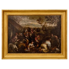 """Dutch 18th Century Oil on Canvas Painting Titled """"Picking Of The Flowers"""""""