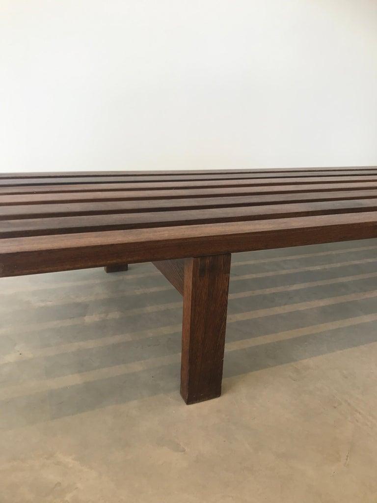 Mid-Century Modern Dutch 1960 Slat Bench Designed by Martin Visser for Stedelijk Museum Amsterdam For Sale