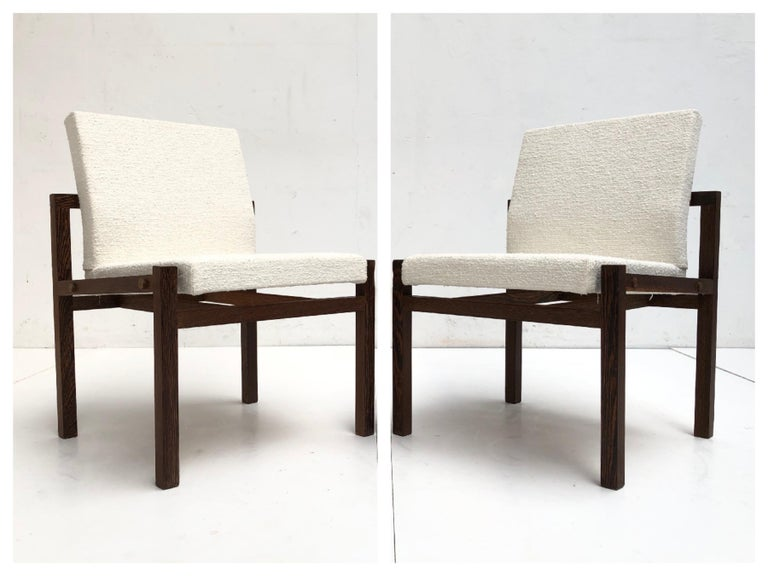 Dutch 1960s Lounge Chairs in Solid Wenge Wood and New Pure Wool Upholstery For Sale 8