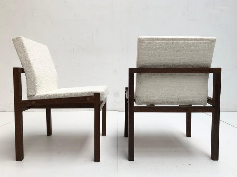 Minimalist Dutch 1960s Lounge Chairs in Solid Wenge Wood and New Pure Wool Upholstery For Sale