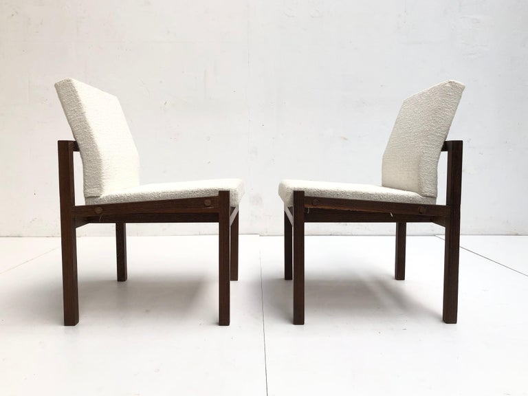 Mid-20th Century Dutch 1960s Lounge Chairs in Solid Wenge Wood and New Pure Wool Upholstery For Sale