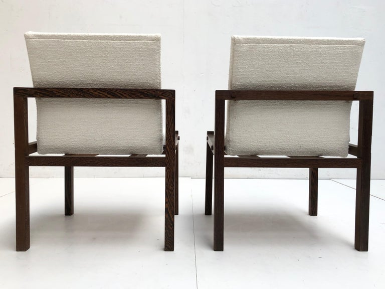 Dutch 1960s Lounge Chairs in Solid Wenge Wood and New Pure Wool Upholstery For Sale 1