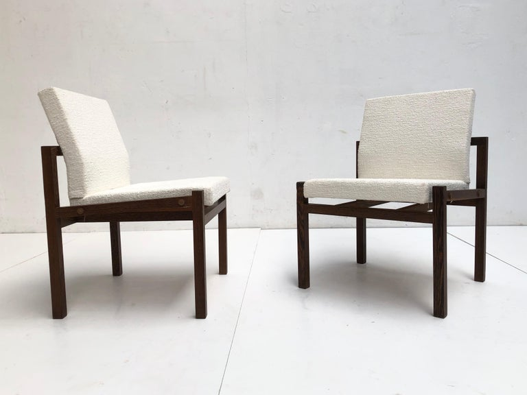 Dutch 1960s Lounge Chairs in Solid Wenge Wood and New Pure Wool Upholstery For Sale 2