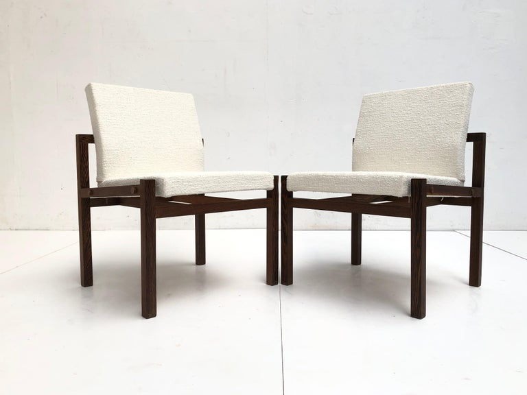 Dutch 1960s Lounge Chairs in Solid Wenge Wood and New Pure Wool Upholstery For Sale 3
