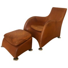 Dutch 1990s Montis Leather Lounge Chair and Ottoman