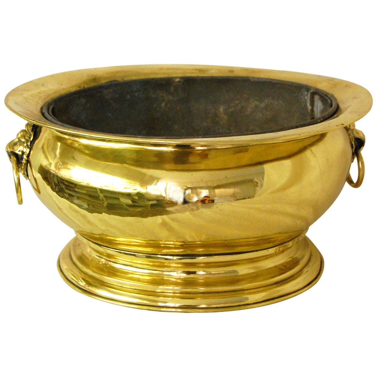 Dutch 19th Century Brass Large Oval Wine Cooler with Original Removable Liner
