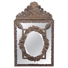 Dutch 19th Century Brass Repousse Cushion Mirror