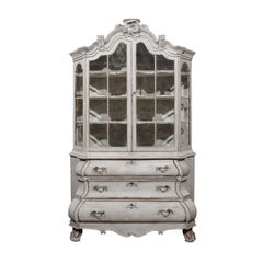Dutch 19th Century Rococo Style Painted Vitrine with Glass Doors and Bombé Chest