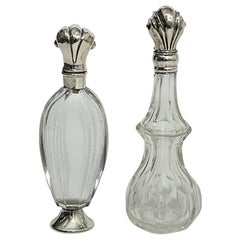Dutch 19th Century Silver and Crystal Scent or Perfume Bottles