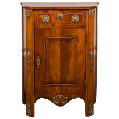 Dutch 19th Century Walnut Bedside Cabinet with Drawer, Door and Bronze Mounts