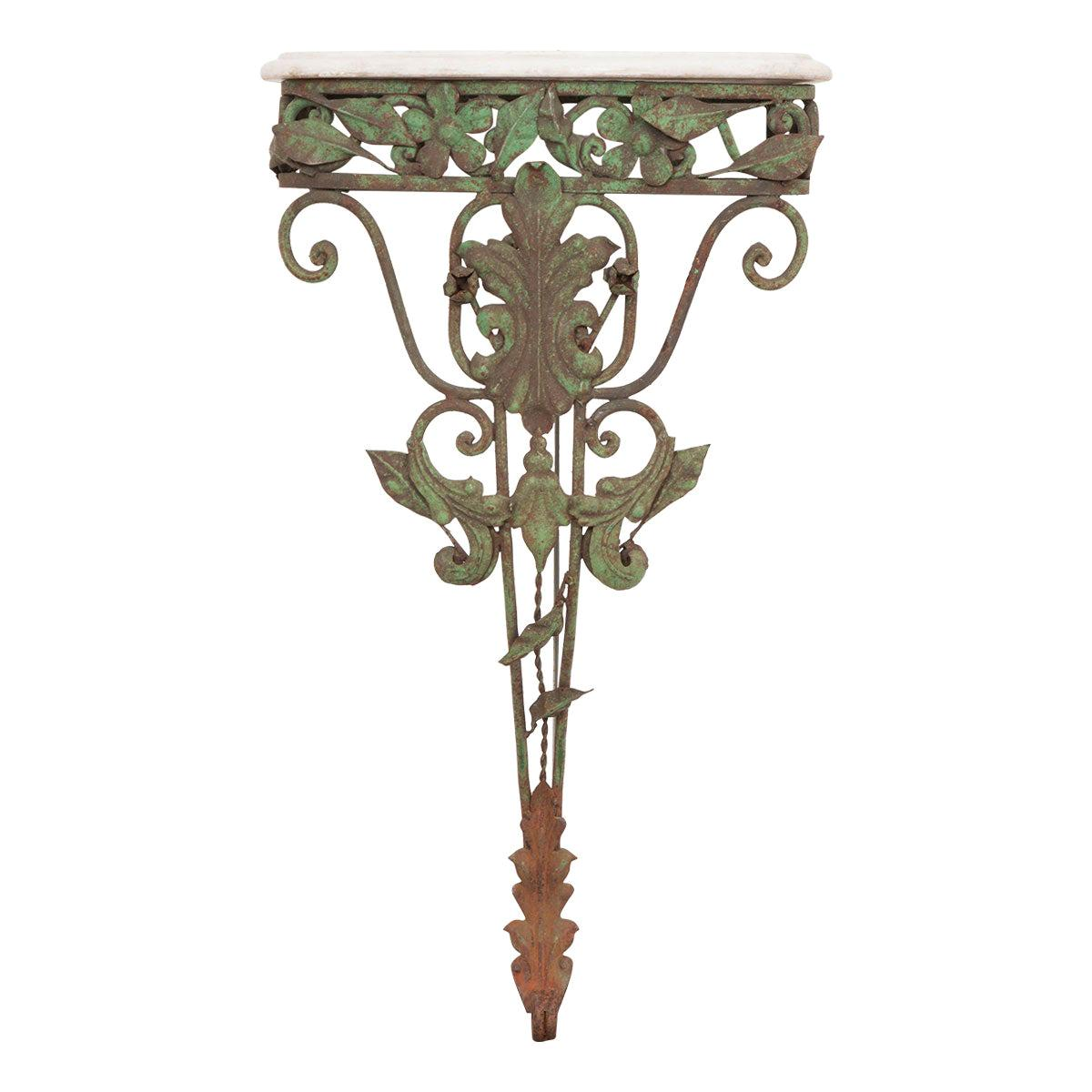 Dutch 20th Century Iron and Marble-Top Console