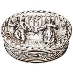 Dutch 800 Silver Oval Pill Box