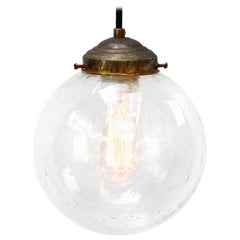 Dutch Air Bubble Glass Globe Brass Top Pendant Lights