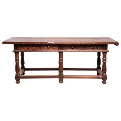 Portuguese All Original 18th Century Carved Walnut Table