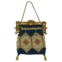 Dutch Amsterdam Golden Clasp with Embroidered Sac, Collectable Antique, 1812