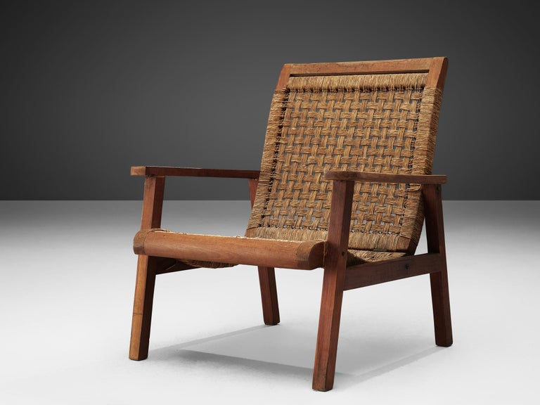Mid-Century Modern Dutch Armchair in Woven Rope and Wood