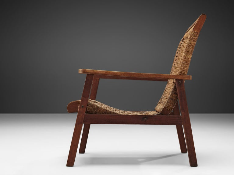 Dutch Armchair in Woven Rope and Wood In Good Condition In Waalwijk, NL