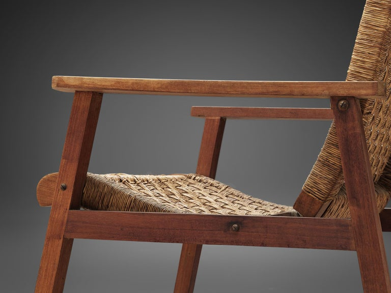 Mid-20th Century Dutch Armchair in Woven Rope and Wood