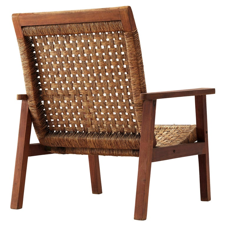 Dutch Armchair in Woven Rope and Wood
