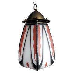 "Dutch Art Deco Amsterdam School ""De Nieuwe Honsel"" Stained Glass Hanging Lamp"